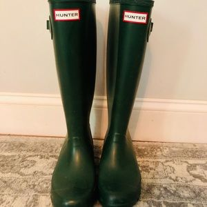 Tall Hunter Rain Boots, Green, Size 6